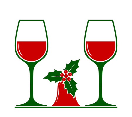 vector wine glasses and christmas bell isolated on white background