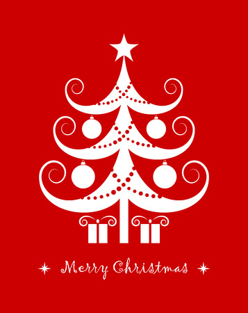 vector christmas tree and gifts isolated on red background Illustration