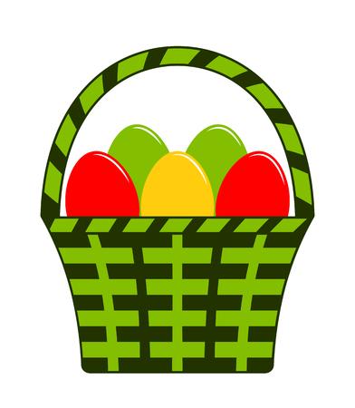 vector easter eggs in basket isolated on white background Ilustração