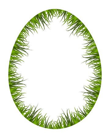 vector egg frame with grass isolated on white background