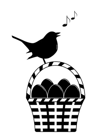 vector eggs in basket and singing bird isolated on white background