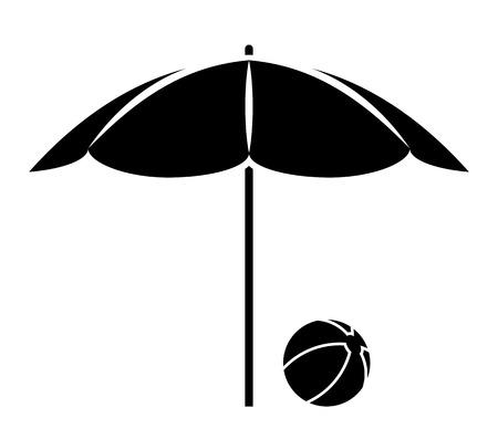 vector beach ball under beach umbrella isolated on white background