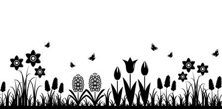 bordure transparente de vecteur avec des fleurs de printemps isolés sur fond blanc