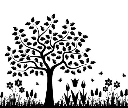 Vector frontière transparente avec des fleurs de printemps et arbre isolé sur fond blanc Vecteurs