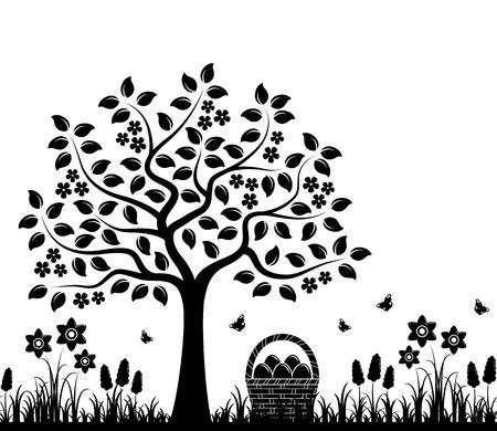 bordure transparente de vecteur avec arbre en fleurs, fleurs de printemps et oeufs dans le panier isolé sur fond blanc
