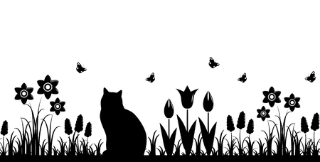 vector seamless border with spring flowers and cat isolated on white background