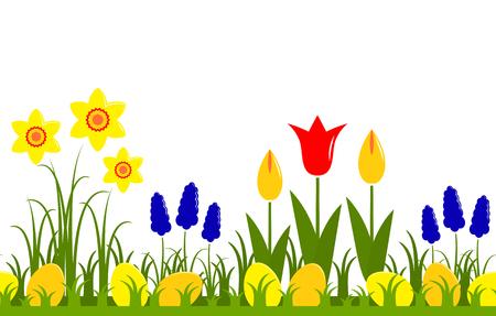 wektor bezszwowe obramowanie z wiosennymi kwiatami i pisanki na białym tle