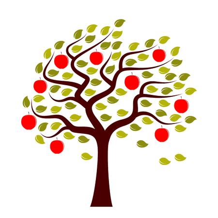 Vektor-Apfelbaum im Wind isoliert auf weißem Hintergrund