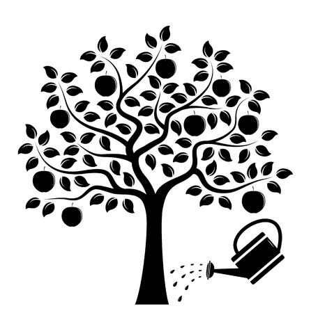 Vektor-Apfelbaum und Gießkanne isoliert auf weißem Hintergrund