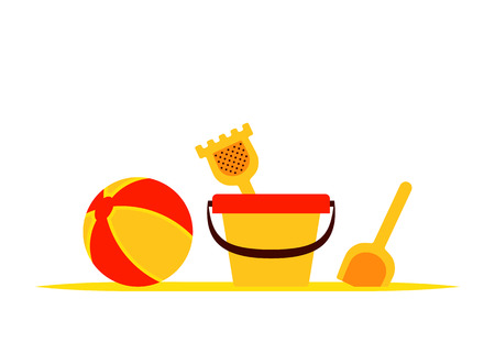 vector sand bucket and beach ball isolated on white background