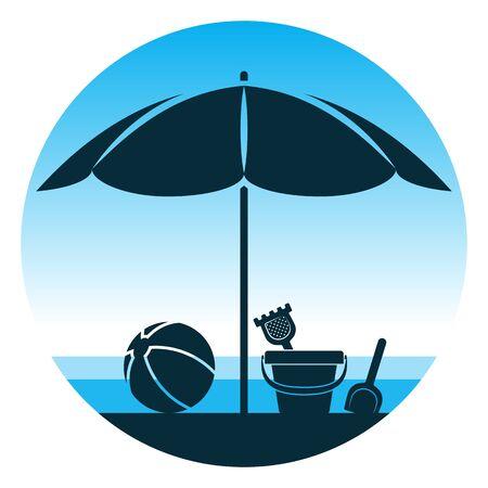 vector sand bucket and beach ball under beach umbrella on the beach on blue round