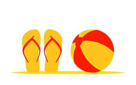 vector flip flops and beach ball isolated on white background Illustration