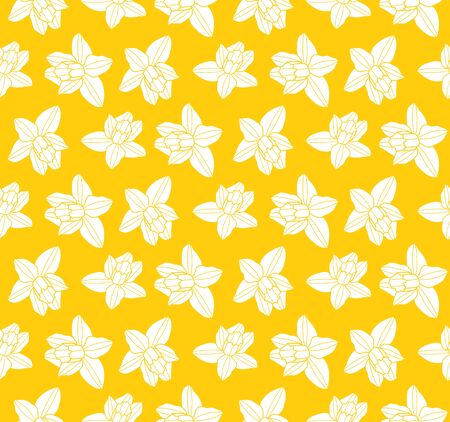 vector seamless texture with daffodil pattern on yellow background