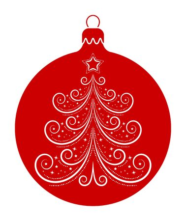 vector christmas ball with christmas tree decor isolated on white background