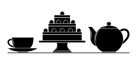 vector cup, pot and cake isolated on white background Ilustrace