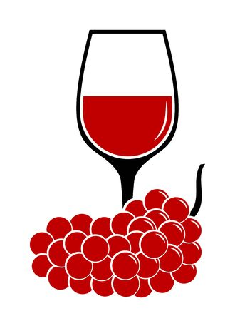 vector wine glass and grape isolated on white background 矢量图像
