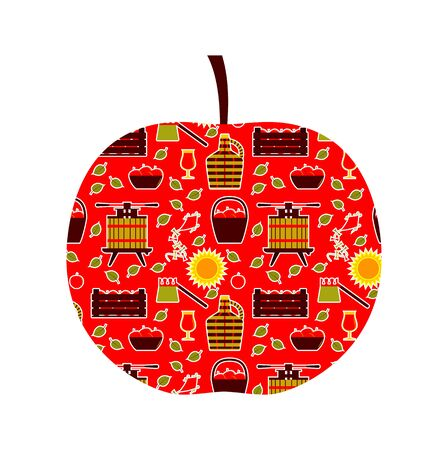 vector apple with apple harvest decor isolated on white background