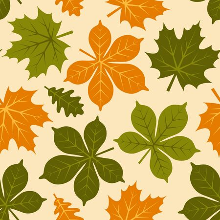 vector seamless texture with autumn leaves on yellow background Imagens - 133531492