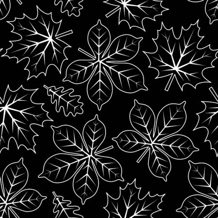 vector seamless texture with leaves on black background Imagens - 133531494