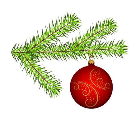 Vektor-Fichtenzweig mit Weihnachtskugel auf weißem Hintergrund