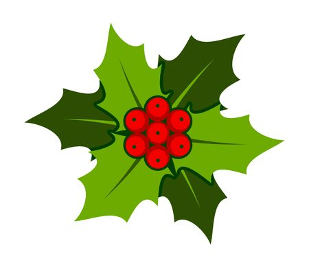 vector christmas holly isolated on white background