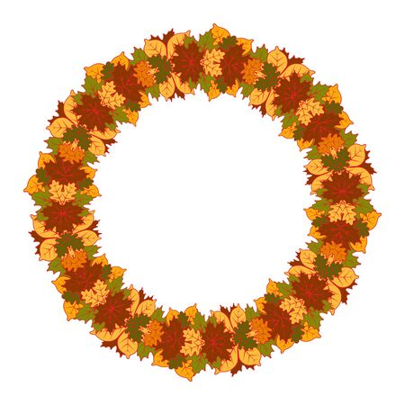 vector autumn leaves wreath isolated on white background Imagens - 133531500
