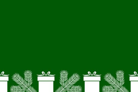 vector seamless border with spruce twigs and gifts on green background