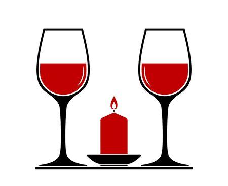 Vector copas de vino y velas aisladas sobre fondo blanco.