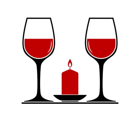 vector wine glasses and candle isolated on white background
