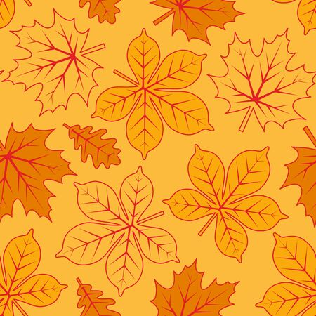vector seamless texture with autumn leaves on yellow background