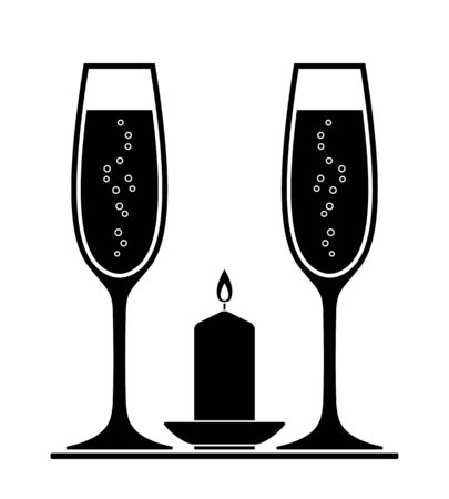 vector champagne glasses and candle isolated on white background