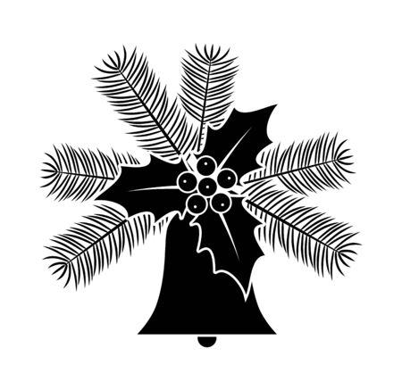 Vektorweihnachtsglocke, Fichtenzweige und Stechpalme lokalisiert auf weißem Hintergrund Vektorgrafik