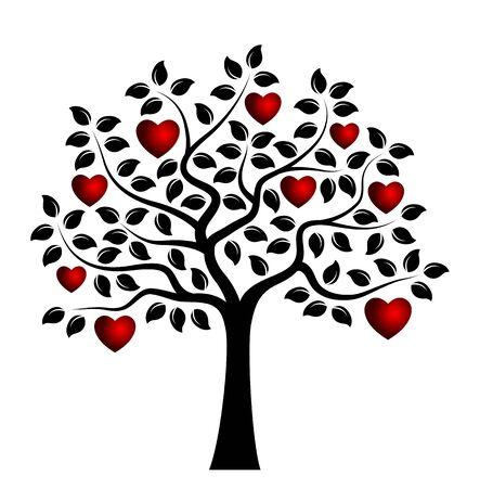 arbre coeur vecteur isolé sur fond blanc Vecteurs