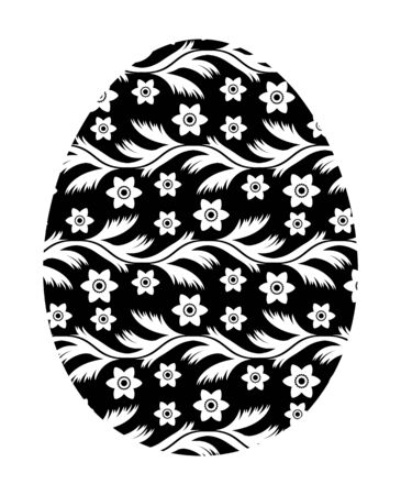 vector easter egg with floral pattern isolated on white background