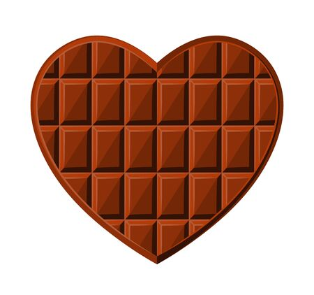 vector chocolate heart isolated on white background Illustration
