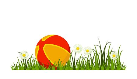 vector ball in grass isolated on white background