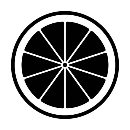 vector lemon slice isolated on white background
