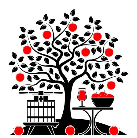vector apple tree, fruit press and table with apple drink isolated on white background
