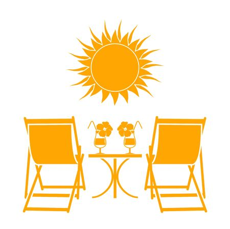 vector deck chairs, summer cocktails and sun isolated on white background