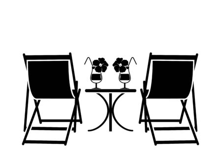 vector deck chairs and summer cocktails isolated on white background
