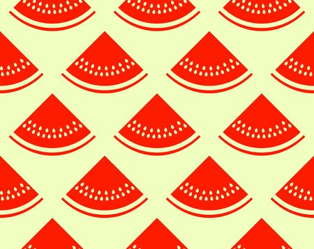 vector seamless texture with watermelon slices on yellow background