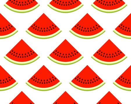 vector seamless texture with watermelon slices on white background