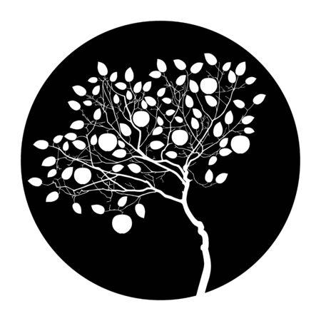 vector apple tree isolated on black round 일러스트
