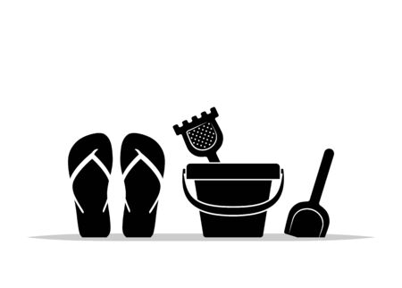 vector flip flops and sand bucket isolated on white background