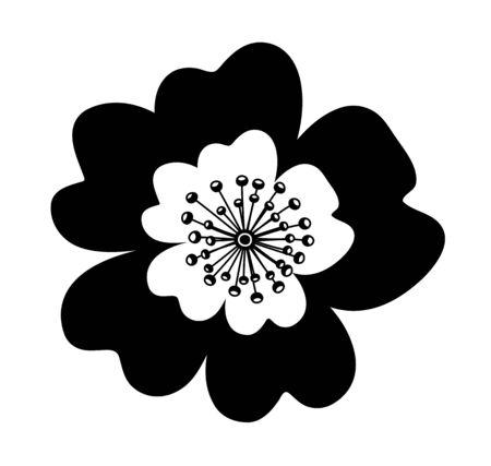vector dog rose flower isolated on white background