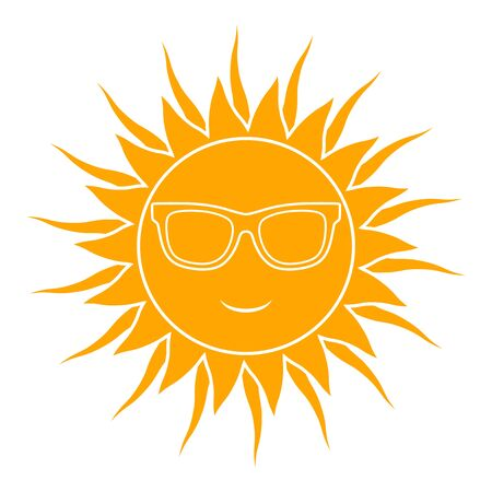 vector sun with sunglasses isolated on white background 일러스트