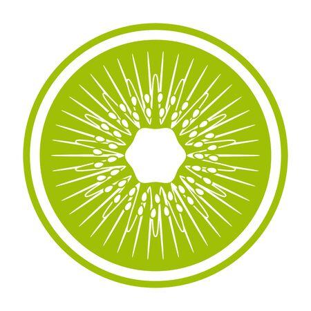 vector kiwi slice isolated on white background 일러스트