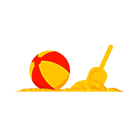 vector beach ball and shovel in sand isolated on white background