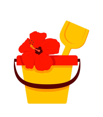 vector sand bucket with shovel and hibiscus isolated on white background