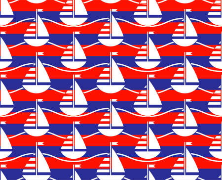 vector seamless texture with sailboats pattern 일러스트